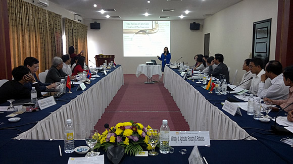 Dr. Bessie M. Burgos, Acting Program Head of Research and Development Department of SEARCA, presents information on financing CCA during the 10th Policy Roundtable in Phnom Penh, Cambodia.