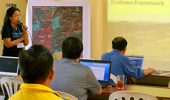 Ms. Ma Lovella Segayo, Development Management Officer of CCC provided the overview of the Eco-Town Framework in Upper Marikina River Basin Protected Landscape (UMRBPL)