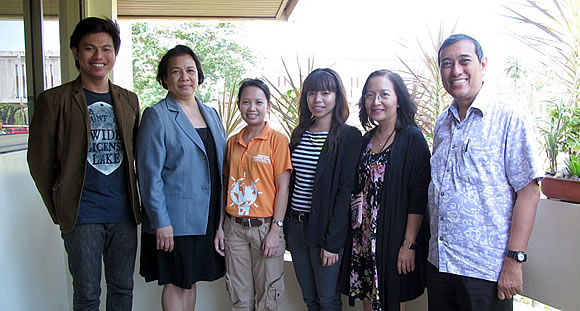 (From left to right) Mr. Mark Vincent P. Aranas, KM Assistant from SEARCA; Dr. Mariliza V. Ticsay, Head of SEARCA's Knowledge Resources Unit; Ms. Donna Lyne Sanidad, Information Technology Officer of CCC; Ms. Frances Mara Mendoza, PR and Communications Advisor of GIZ; Dr. Maria Celeste H. Cadiz, Program Head of SEARCA's Knowledge Management Department; and Dr. Lorenzo F. Templonuevo, GIZ Consultant for the Support to the Climate Change Commission Project.