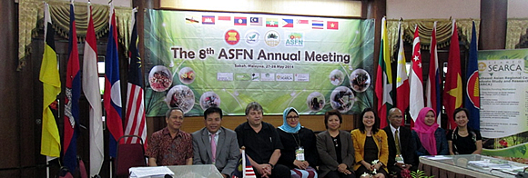 The ASRF Program Steering Committee members with SEARCA's Acting Program Head for R&D, Dr. Bessie Burgos and the ASRF Regional Program Coordinator, Ms. Amy Lecciones.