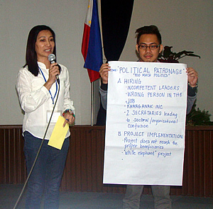 Participants engaged in role playing to identify  some of the issues that served as hindrance to social accountability in the agricultural sector. In photo are Ms. Mildred M. Buazon, OIC - Administrative Division, Bureau of Fisheries and Aquatic Resources (BFAR) (left), and Dr. Ronan G. Zagado, Supervising Science Research Specialist, Philippine Rice Research Institute (PHILRICE) (right).