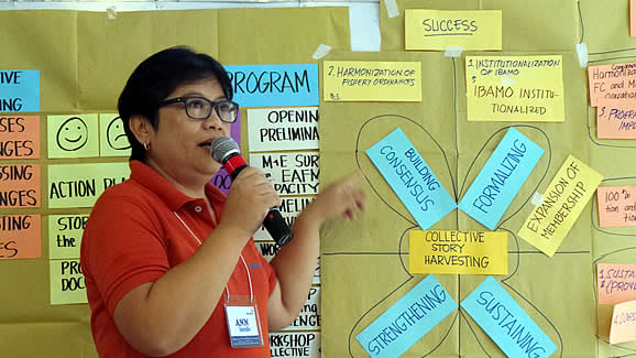 Dr. Lily Ann Lando, WorldFish Communications Officer, discussed the workshop's harvested success factors of the IBAMO.