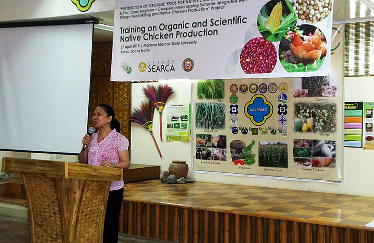 Dr. Marilou P. Lucas, MMSU Research Director for Research and Development Extension, gives the welcome remarks on behalf of Dr. Nathaniel R. Alibuyog, MMSU Vice President for Research and Extension.