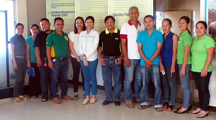 SEARCA Project Team and PCC at Ubay Stock Farm Officials and staff pose for a souvenir photo during the KM Audit on 26 November 2015 in Ubay, Bohol.