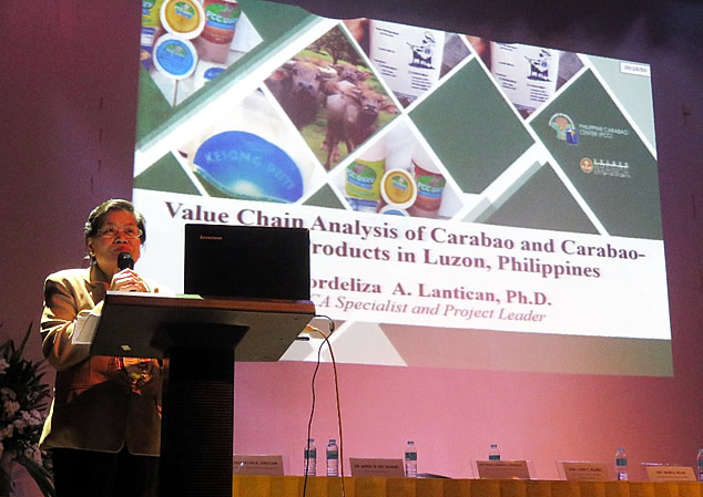 Dr. Lantican presenting the results of the Carabao VCA project