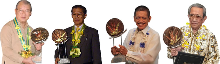 The recipients of the Dioscoro L. Umali Achievement Award in Agricultural Development are (from left) Dr. Vo Tong Xuan, Dr. Charan Chantalakhana, Dr. Ramon C. Barba, and Dr. Sjarifudin Baharsjah.
