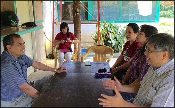 Prof. Rolando T. Bello, SEARCA Adjunct Fellow and Project Overall  Coordinator, hold exploratory talks with Camarines Norte State College  Research and Extension officers and local farmer-leader in Basud, Camarines  Norte.