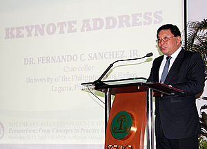 Dr. Fernando C. Sanchez Jr., UPLB Chancellor, delivers his keynote speech.