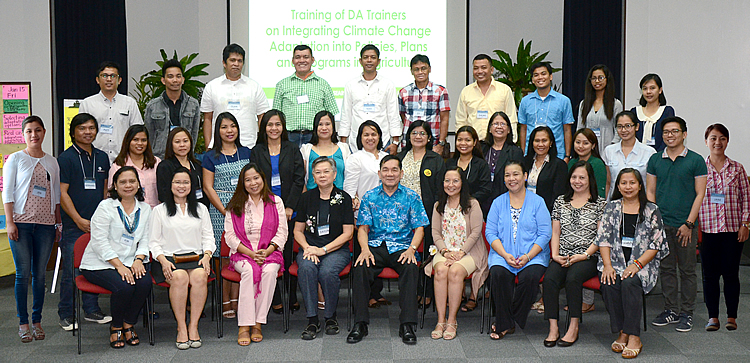 Photo above shows DA AMIA Training of Trainors (ToT) participants composed of 17  representatives from the Agricultural Training Institute-Regional Training Centers and 8 representatives from the Department of Agriculture (DA) Regional Field Offices (RFOs) in Regions 1, 2, 3, 5, 6, 10 and Negros Island Region together with Ms. Perla G. Baltazar (seated, 3rd from left) representing Dr. Alicia G. Ilaga, Director, DA-System Wide Climate Change Office and Dr. Casiano S. Abrigo, Jr., Executive Director, UPLB Foundation, Inc. (seated, 5th from left).