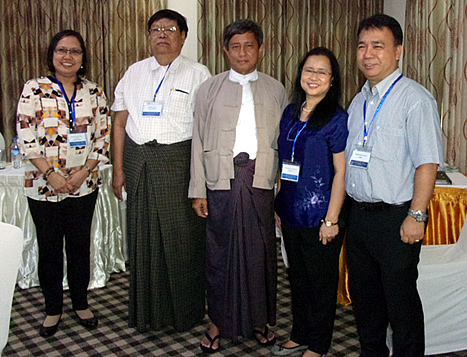 Chair of the OECD Seminar and MOALI Permanent Secretary Dr. Tin Htut (center) with Dr. Bessie Burgos of SEARCA (4th from left), Dr. Romy Labios of IRRI (5th from left), and Ms. Leah Samson of the Philippine Department of Agriculture (far left).