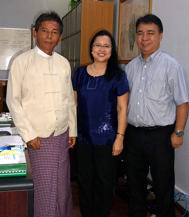 Dr. Bessie Burgos of SEARCA and Dr. Romy Labios of IRRI with MOALI Deputy Minister Dr. Tun Winn.