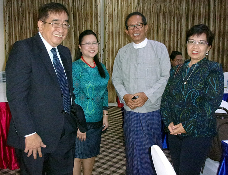 L-R Mr. Bernie Justimbaste, SEARCA Consultant on AIS, Dr. Bessie Burgos, U Tin Htut Oo, Chair of NESAC, and Ms. Lourdes Adriano, ADB Consultant.