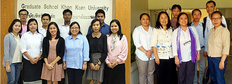 Dr. Maria Cristeta Cuaresma with the IDRC-SEARCA scholars in KKU (left) and CMU (right).