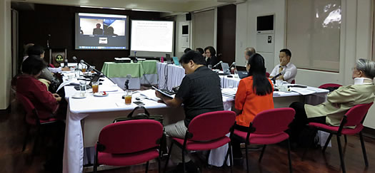 Dr. Sajise, Dr. Otsuka and Dr. Estudillo joining the workshop via video conference from Rome, Italy and Tokyo, Japan.