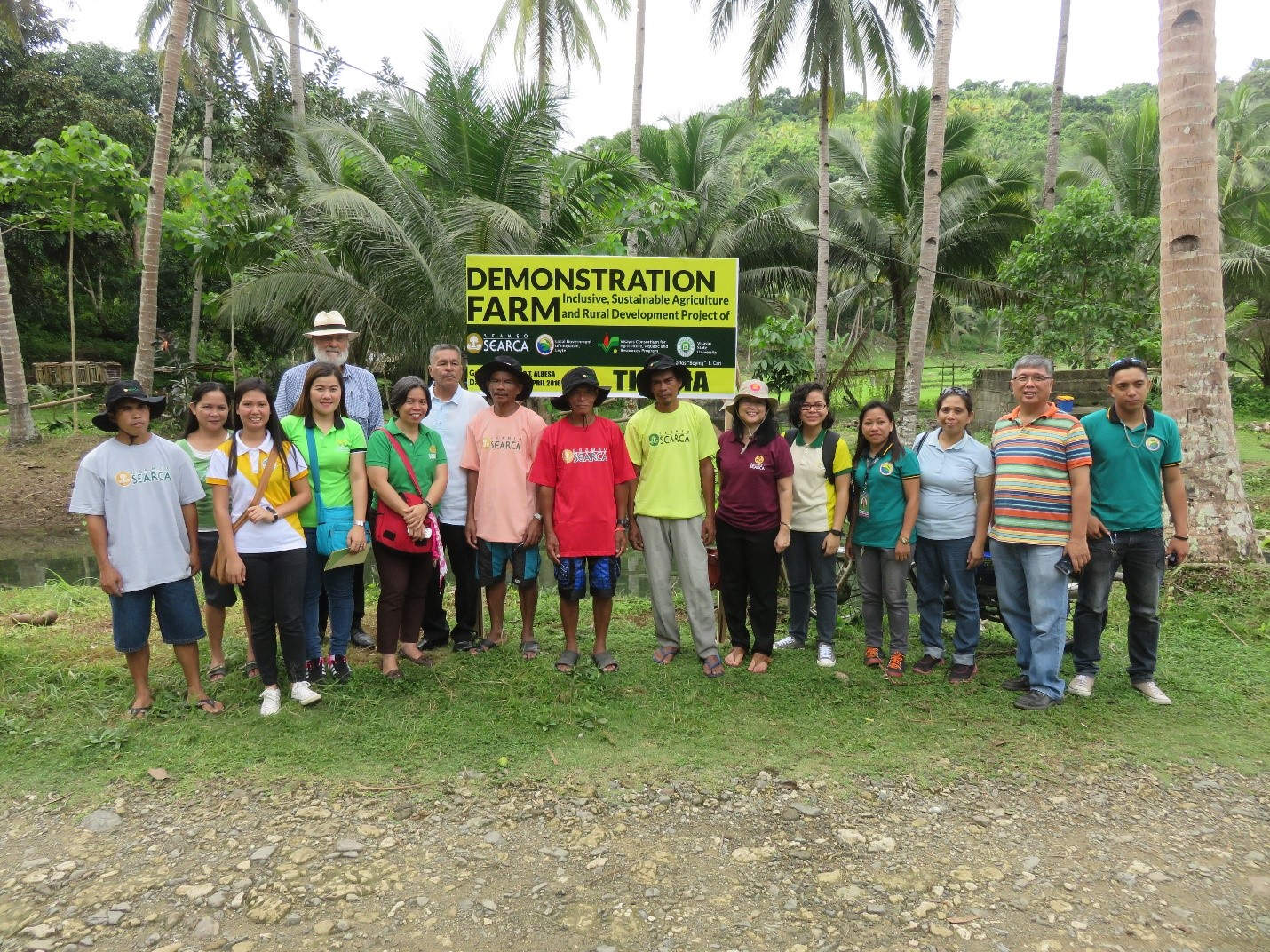 ISARD Growers, LGU Inopacan ISARD Team, VSU ISARD Team, and SEARCA ISARD Team in a Tilapia Fishpond Demonstration Farm with Dr. Friedhelm Göltenboth the father of rainforestation.