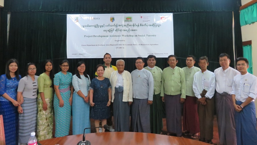 Participants to the Pilot testing of the ASRF Project Development Toolkit and validation of Gap Analysis of Myanmar on Social Forestry (8 August 2017).