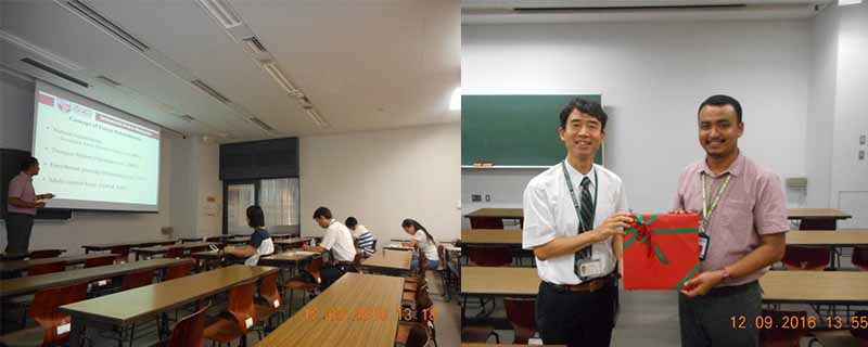 L-R: Dr. Daljit (2016 UC grantee for Visiting Professor Program for Teaching Purposes) during his lecture at Tokyo NODAI; with Prof. Dr Iwao Uehara who serves as Dr. Daljit's supervisor at Tokyo NODAI.
