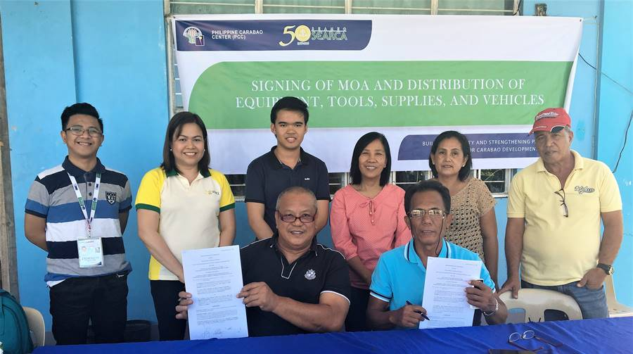 Standing (L-R): Mr. Zadieshar Sanchez , Administrative Officer V, PCC National Headquarters; Ms. Nancy Landicho, SEARCA Program Specialist; Mr. Micko Roa Dela Cruz, Manager, NEFEDCCO; Ms. Wilma Del Rosario, NIZ Coordinator; Ms. Rebecca Bacolor, BOD, NEFEDCCO; and Mr. Restituto Villaviza, BOD, NEFEDCCO. | Seated (L-R): Mr. Gerardo Delos Santos, Chairman; and Mr. Crispin Barcancel, Vice-Chairman, all of NEFEDCCO.