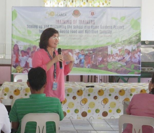 Ms. Teresita Ramos, Provincial Nutrition Action Officer of Laguna, highlighting the importance of of food production and nutrition.