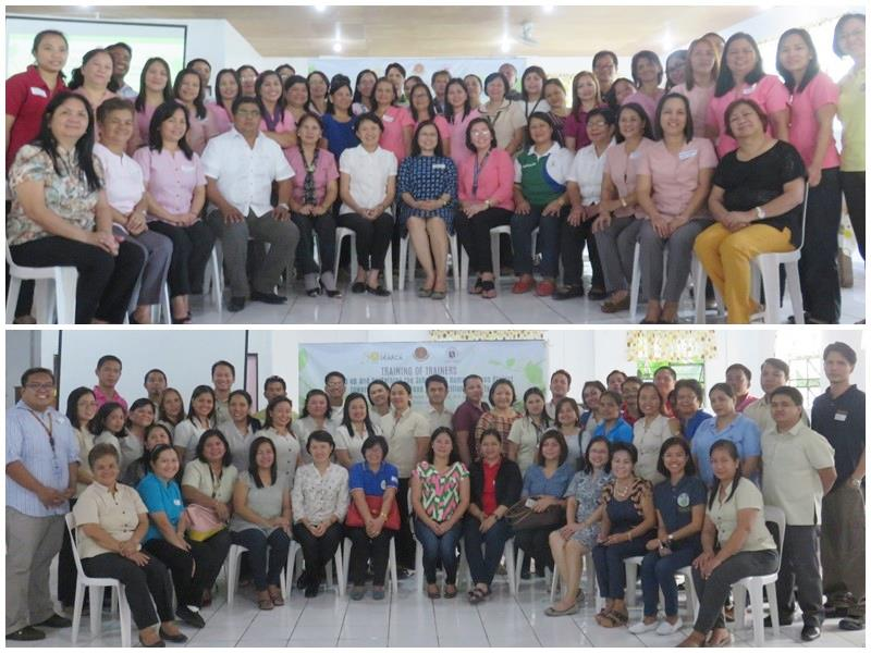 TOP: Day 1 participants including the district supervisors and heads of the pilot schools and their sister schools, and the Municipal Nutrition Action Officers, Municipal Social Welfare and Development Officers, and Municipal Agriculturists of their respective LGUs; BOTTOM: Day 2 participants including teachers of the pilot schools and their sister schools, and representatives from the Municipal Nutrition Action Office, Municipal Social Welfare and Development Office, and Municipal Agriculture Office of their respective LGUs