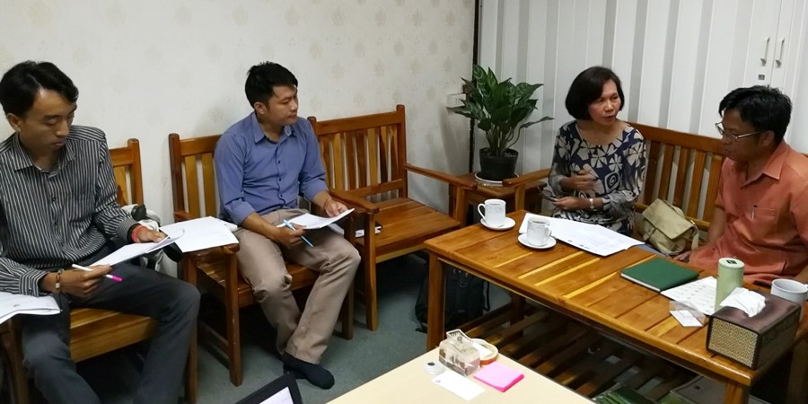 Ms. Carmen Nyhria Rogel discussing SEARCA-ASRF and the preparations for the pilot testing of the ASRF Project Development Toolkit and validation of Gap Analysis on Social Forestry to Dr. Oupakone Alounsavath and staff