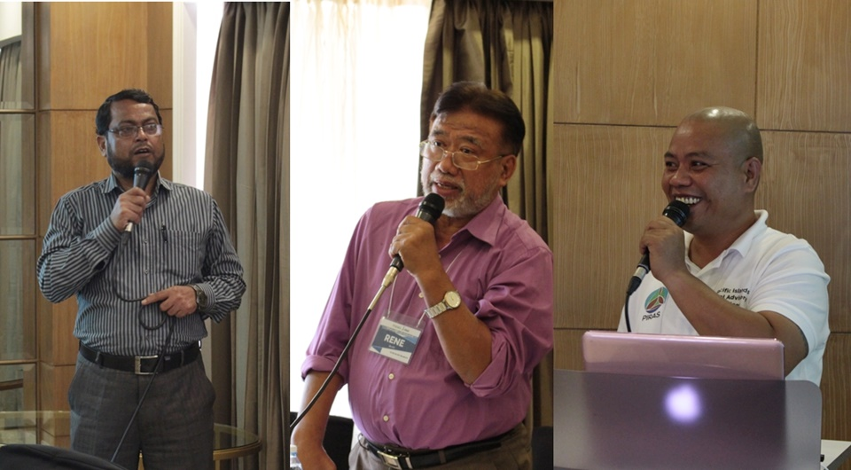 (From L – R) The SAAS Project partners during their presentations in the workshop, Dr. Sekender Ali, Secretary General, BAEN; Engr. Renato dela Cruz, Chief, Partnerships and Accreditation Division, DA-ATI; and Mr. Gibson Susumu, Extension Officer, PIRAS.