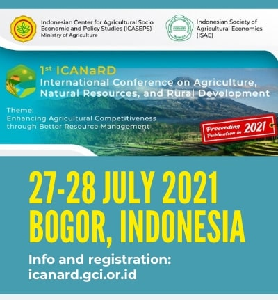 1st International Conference on Agriculture, Natural Resources, and Rural Development (ICANaRD) organized by the Indonesian Center for Agricultural Socio Economic and Policy Studies (ICASEPS)