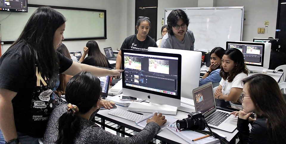 Learners join a hands-on exercise on video editing led by video production specialists from the UPLB College of Development Communication during the second day of the 3rd Face-to-Face Session of the IKM Mentorship Program, 25 April 2019.