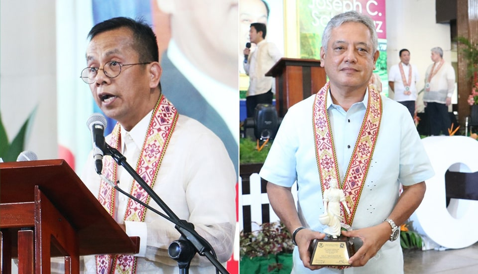 Dr. Arsenio M. Balisacan (left) and Dr. Gil C. Saguiguit, Jr., (right), both former SEARCA Directors, received the Outstanding Alumnus Award from the College of Economics and Management of the University of the Philippines Los Baños (UPLB).