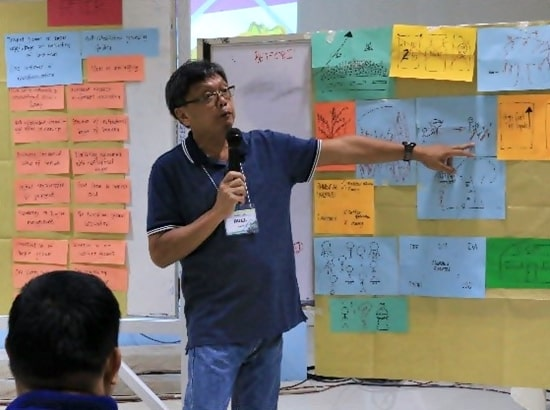 Mr. Ruel A. Sanchez, President of the Victoria Kalamansi Farmers Federation (VKFF) in Oriental Mindoro presenting their workshop output.
