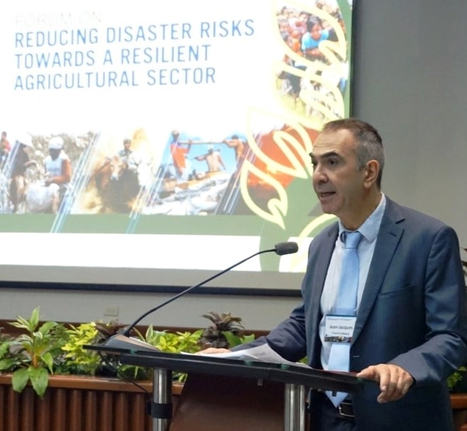 Mr. Jean-Jacques Forte, Cultural and Cooperation Counselor of the Embassy of France in the Philippines, expressed the France-Philippines common agenda of developing viable disaster risk reduction and management mechanism in the agricultural sector.