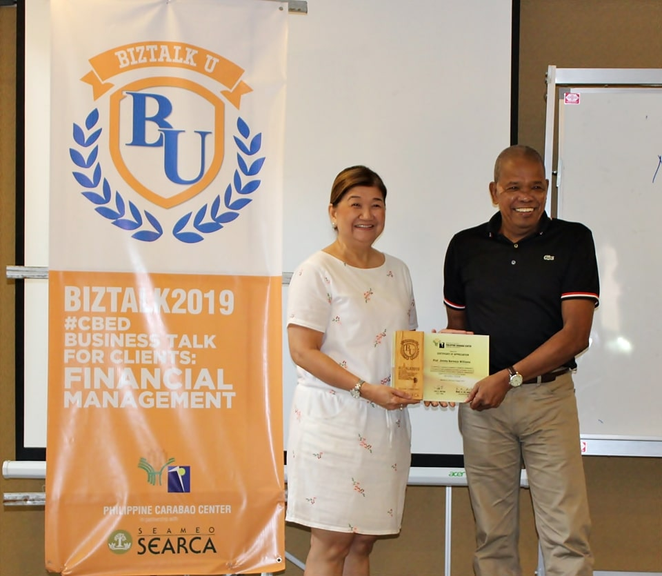 Professor Jimmy B. Williams served as the Resource Person for the Business Talk for Clients: Financial Management held on 27 – 30 August 2019 at The Orchid Gardens Hotel, San Fernando, Pampanga.