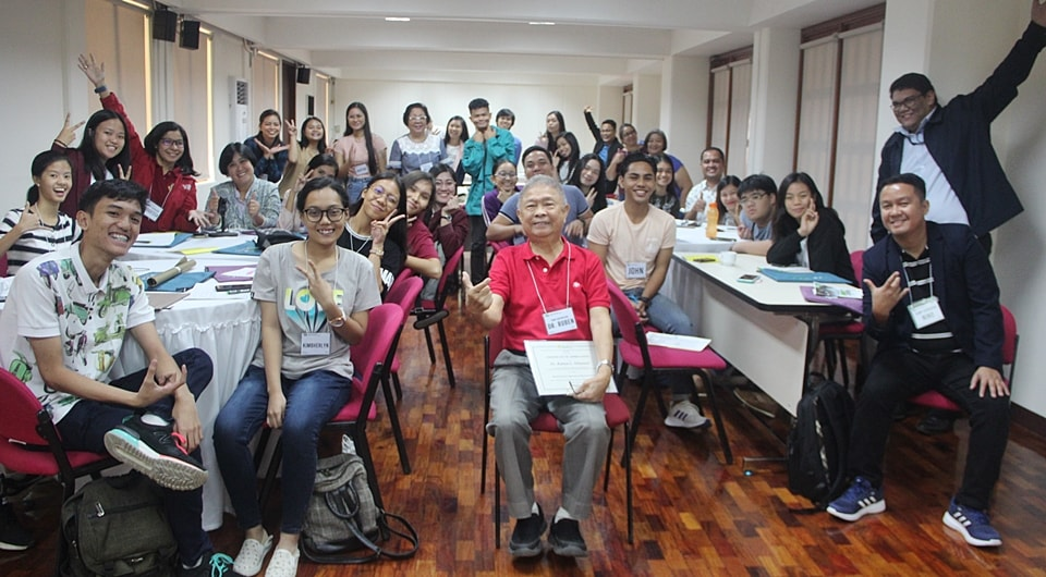 The participants with NAST Academician and former SEARCA Director, Dr. Ruben Villareal. Dr. Villareal presented the challenges faced by agriculture and how the youth can be part of the solution.