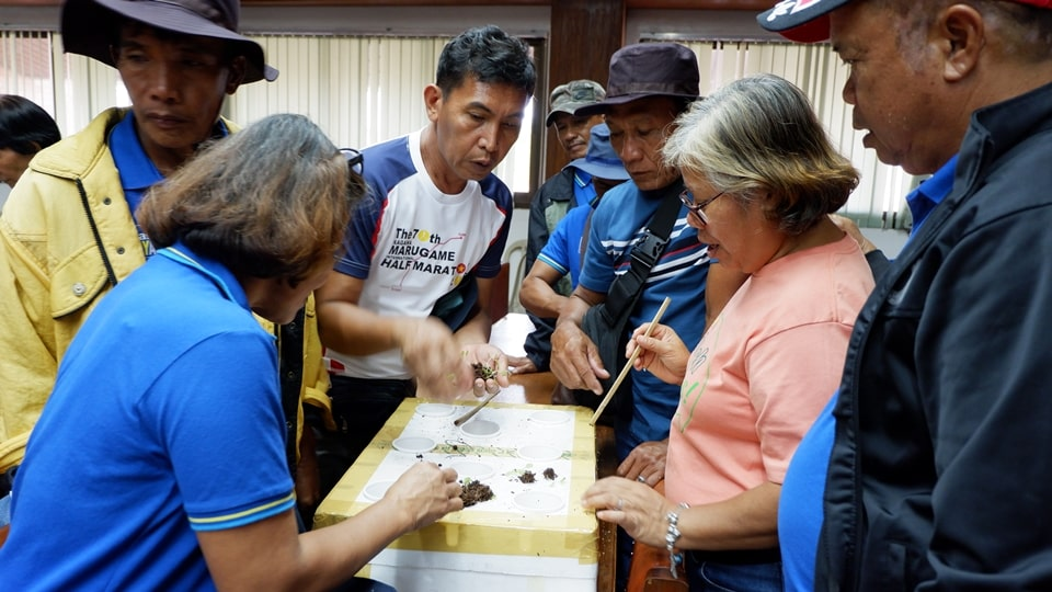 The participants tried their hands at building a SNAP Hydroponics planting system during the hands-on exercise at the UPLB-Institute of Plant Breeding.