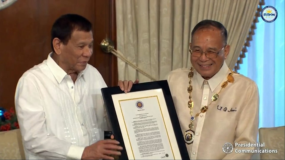 President Rodrigo Roa Duterte formally conferred the Rank and Order of National Scientist to Dr. Emil Q. Javier. The Order of National Scientist is the highest honor conferred by the President to a Filipino with outstanding achievements in science and technology.