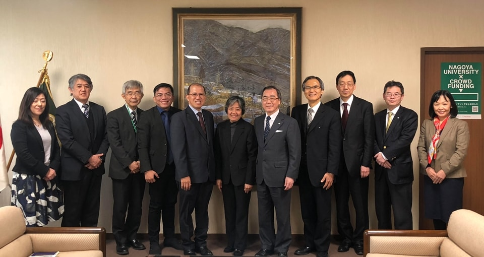 Dr. Gregorio, Dr. Ancog, and Professor Matsuo with other Nagoya University officials present at the meeting were Prof. Dr. Kazuhito Kawakita, Vice President and Trustee; Prof. Dr. Masafumi Nakahigashi, Vice President; Prof. Dr. Fumio Isoda, Director of Asian Satellite Campuses Institute (ASCI); Prof. Dr. Satoru Tsuchikawa, Dean of Graduate School of Bioagricultural Sciences (GSBS); Prof. Dr. Akira Yamauchi, Vice Dean of GSBS; Prof. Dr. Aya Okada, Professor of Graduate School of International Development (GSID); and Dr. Editha C. Cedicol, ASCI.