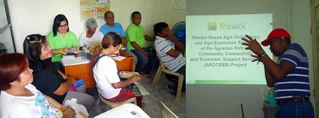 The members of Sitio Sapang Kubo Primary Multi-Purpose Cooperative during their special General Assembly on 12 August 2014 in Sitio Sapang Kubo, Sta. Rosa, Nueva Ecija. Prof. Williams (right) presents the outputs delivered by the SEARCA project team.