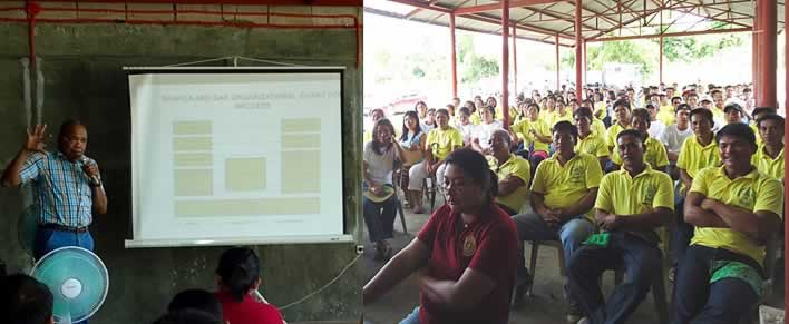 Prof. Jimmy Williams (left), Project Team Leader for DAR ARCCESS Nueva Ecija, presents the outputs delivered by the SEARCA project team before the members of Barangay Aquino Development Cooperative during their regular General Assembly on 31 July 2014 in Brgy. Aquino, Licab, Nueva Ecija, Philippines.