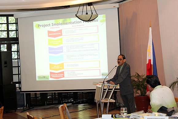 Dr. Candido Cabrido, National CCA Specialist and the project's Team Leader, presents that draft Inception Report to the project stakeholders.