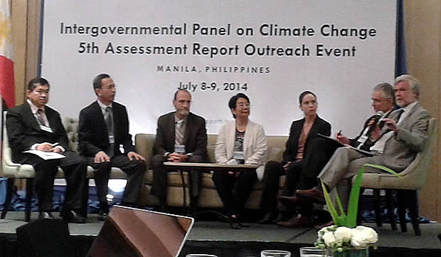 Speakers for the IPCC 5th Assessment Report Outreach Event during the Open Forum held on 9 July 2014 at the Dusit Thani Hotel, Makati City.  Seated from left, Dr. Juan M. Pulhin, Dr. Rodel D. Lasco, Prof. Christopher Field, Dr. Rosa Perez, Dr. Katherine Mach, Dr. David Wratt and Prof. Jim Skea.