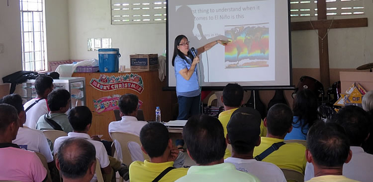 Engr. Marisa J. Sobremisana gives a lecture on Climate Change Adaptation: What to Expect to and How to Cope with the El Niňo Phenomenon to the farmers of the Municipality of Victoria