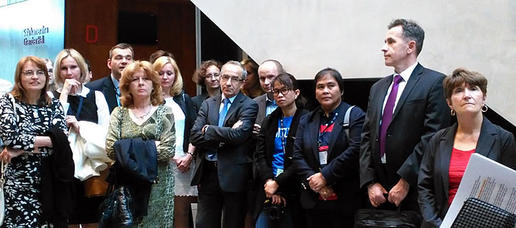 Ms. Julia A. Lapitan and Ms. Rita dela Cruz (third and fourth from the right), Head and Assistant Head, respectively, of the Applied Communication Division of DA-BAR with some of the participants of the KM 2015 International Conference in Katowice, Poland.