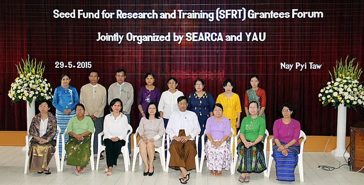 SFRT Grantees with YAU Officials headed by Dr. Myo Kywe (fifth from left) and SEARCA staff led by Dr. Bessie Burgos (fourth from left)