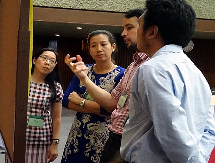 Mr. Federico Davila (2nd from right) of ANU explains the expected output of a workshop exercise to the participants from Thailand and the Philippines.