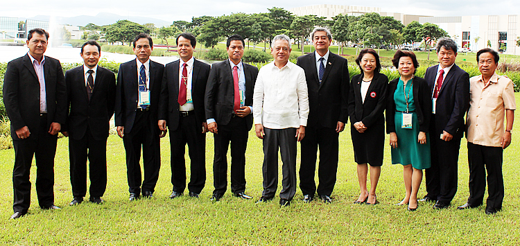 Participants of the 63rd SEARCA Governing Board Meeting held on 10-11 November 2015 in Sta. Rosa City, Laguna. From Left: Dr. Luis Rey I. Velasco of the Philippines; Dr. Haji Mohd Zamri Bin Haji Sabli of Brunei Darussalam; Dr. Bounheuang Ninchaleune of Lao PDR; Dr. Tran Van Dien of Vietnam; Dr. Acacio Cardoso Amaral of Timor-Leste; Dr. Gil C. Saguiguit, Jr., SEARCA Director; Atty. Alberto T. Muyot, Undersecretary for Legal and Legislative Affairs of the Philippine Department of Education; Dr. Tinsiri Siribodhi, Deputy Director for Administration and Communication, SEAMEO Secretariat; Dr. Virginia R. Cardenas, Deputy Director for Administration, SEARCA; Dr. Ngo Bunthan of Cambodia; and Assoc. Prof. Dr. Komsan Amnueysit of Thailand.