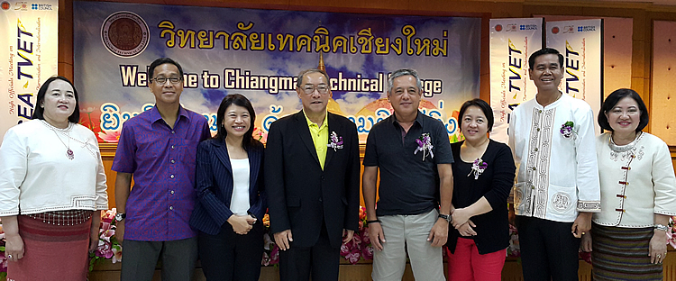 Dr. Gil C. Saguiguit, Jr., SEARCA Director 4th from right), and Ms. Adoracion T. Robles, SEARCA Executive Coordinator and Management Services Unit Head (3rd from right), at the Chiang Mai meeting on 24-26 August 2015, with former Thailand Deputy Minister of Education Dr. Krissanapong Kirtikara (center); Dr. Tinsiri Siribodhi, SEAMES Deputy Director for Administration and Communication; Dr. Juan Miguel M. Luz, Associate Dean at the Asian Institute of Management Stephen Zuelling Graduate School of Development Management; and other Thai participants.