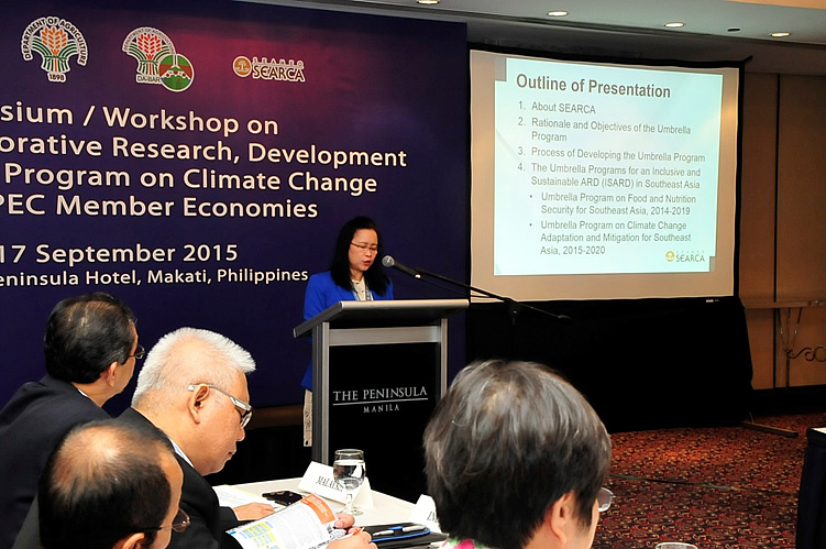 Dr. Bessie M. Burgos, SEARCA Program Head for Research and Development, presented SEARCA's Umbrella Programs on Food and Nutrition Security and Climate Change Adaptation and Mitigation for Southeast Asia.