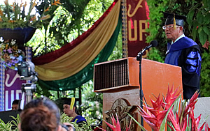 Dr. Chamnian Yosraj (SEARCA alumni MS/PhD Animal Science, UPLB) addresses the graduating class of 2016 during UPLB graduate school recognition rites