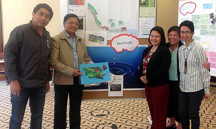 Delegates from the Philippines at the International EbA COP Workshop, 13-17 June 2016. (Left to Right)Mr. Alexis Lapiz,Eco-town Program Officer of theClimate Change Commission (CCC); Dr. Lope B. Santos III, Program Specialist, Project Development and Technical Services of SEARCA;Ms. Elizabeth Bandojo, Environmental Planner/GIS Specialist of the Housing and Land Use Regulatory Board (HLURB) - Southern Tagalog Region; Ms. Dolores Nuevas, Senior Advisor of GIZ-Philippines; and Ms. Ma. Gerarda Asuncion D. Merilo, Climate Change Office at the Environmental Management Bureau, Department of Environment and Natural Resources.