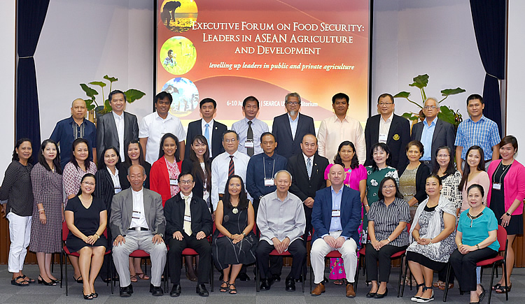Participants, resource persons, and SEARCA training team of the Third Executive Forum on Food Security: Leaders in ASEAN Agriculture and Development, which is held at SEARCA on 6-10 June 2016.